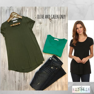 Chloe:  Solid Basic Short Sleeve Top by Chris and Carol