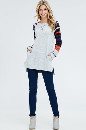 Missy:  Striped Sleeve Brushed Sweater by White Birch