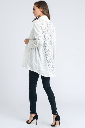 Alison:  White Lace Back Cardigan by Doe and Rae