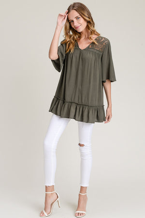 Jami:  Olive Fall Lace Tie Back Top by Doe and Rae