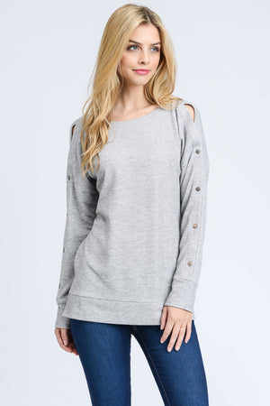 Traci: Grey Button Sleeve Long Sleeve Top by Doe and Rae