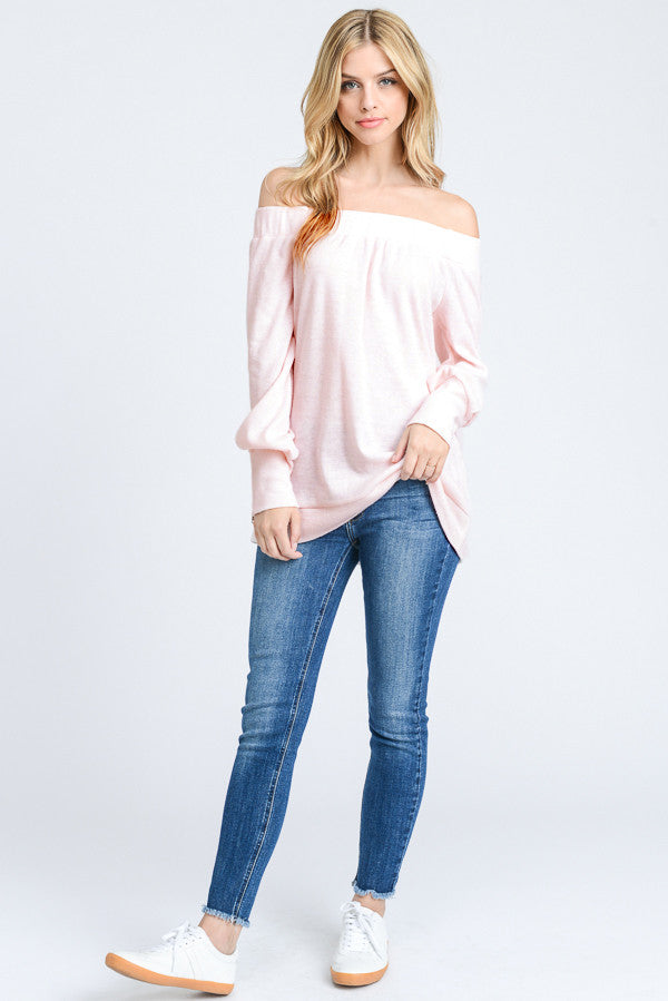 Robyn:  Light Pink Soft Brushed Off Shoulder Zipper Top by Doe and Rae