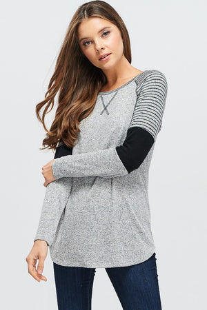Holly: Stripe and Color Block Grey Sweater by White Birch