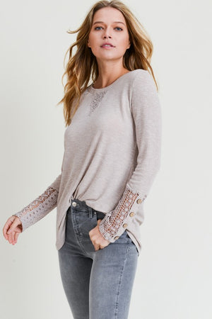 Madeline:  Crochet Button Sleeve Taupe Top by Doe and Rae