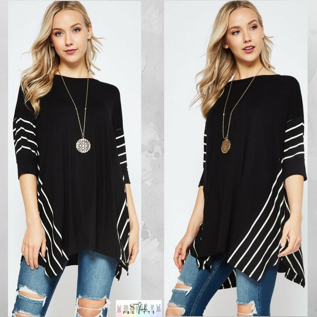 Drea:  Black Striped Accent Top by Bellamie