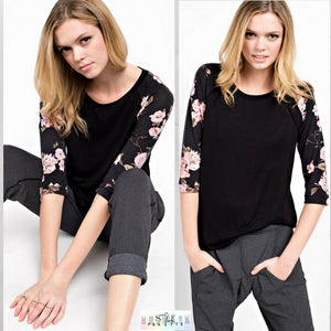 Charlie:   Floral Sleeve Top by 12pm by Mon Ami