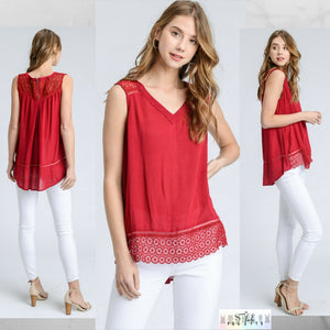 Hailey:   Red Crochet Accent Back Zip Top by Doe and Rae