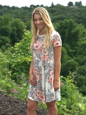 Melanie:  Floral Print Short Sleeve Dress