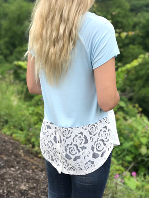 June:  Lace Back Button Light Blue Top