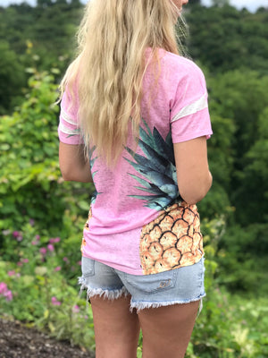 Tina:  Pineapple Knit Short Sleeve Top