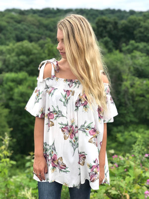 Vanessa:  Shoulder Tie Floral Top