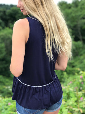 Bethany:  Embroidered Navy Sleeveless Top by THML (Premier Brand)