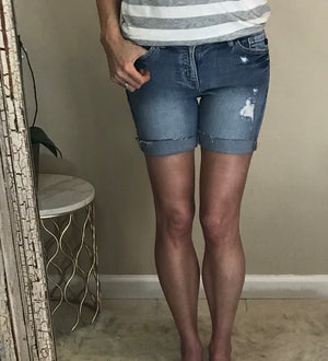 Lydia:  Distressed Demin Shorts by KanCan