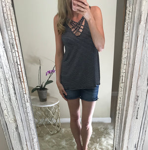 Emily:  Black Striped Cross Front Sleeveless Top