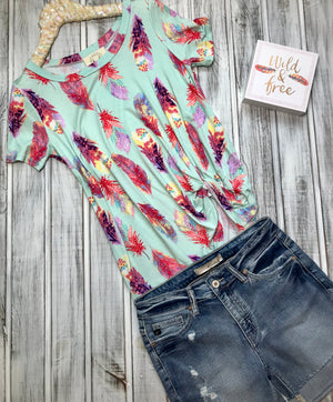 Tisha: Feather Print Side Knot Top