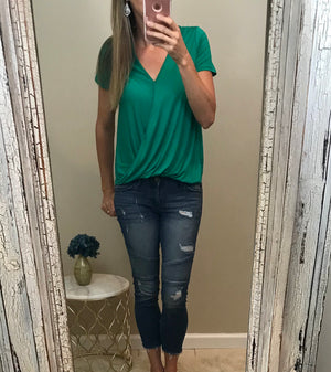 Sandra: Emerald Green Wrap Short Sleeve Top by Gilli