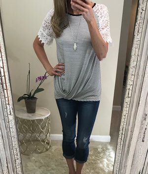 Landry: Lace Sleeve Striped Knot Top by Doe and Rae