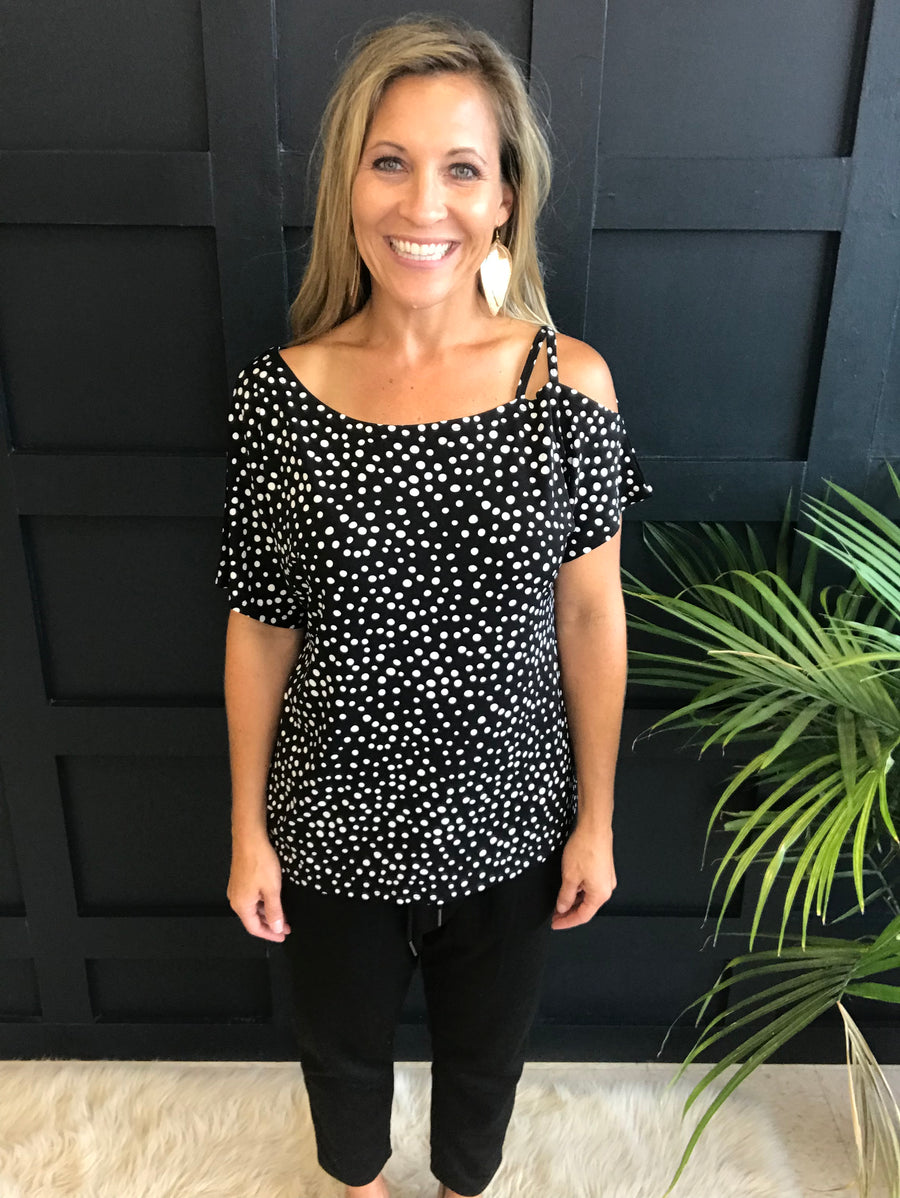 Melissa:  Black and White Polka Dot Strap Top by Gilli