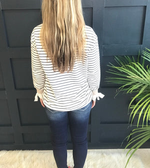 Nola: Striped Long Sleeve Top with Wrist Ties