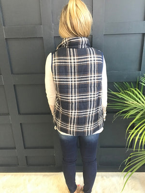 Denise:  Navy Plaid Zip-Up Vest by Entro