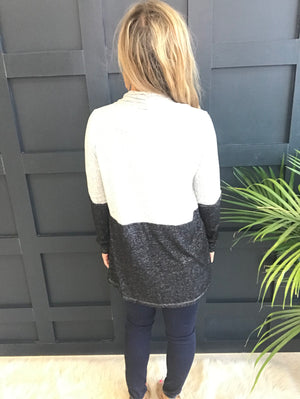 Kristi: Grey Color Block Waterfall Brushed Cardigan by Staccato