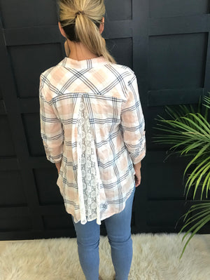 Nellie: Lace Back Plaid Roll Tab Top by Hem and Thread