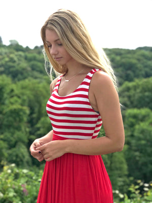 RESTOCKED! Rachael: Red and White Pocket Striped Maxi Dress