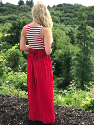 Rachael: Red and White Pocket Striped Maxi Dress