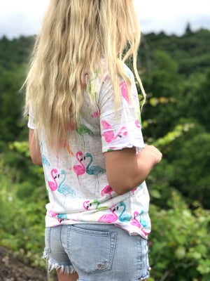 Tiana:  Flamingo Print Cutout Neck Tee