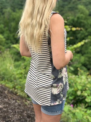 Ella:  Striped Floral Side Print Sleeveless Top by Gilli