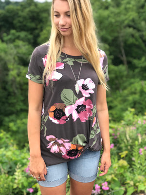 Meredith:  Floral Print Side Knot Short Sleeve Top
