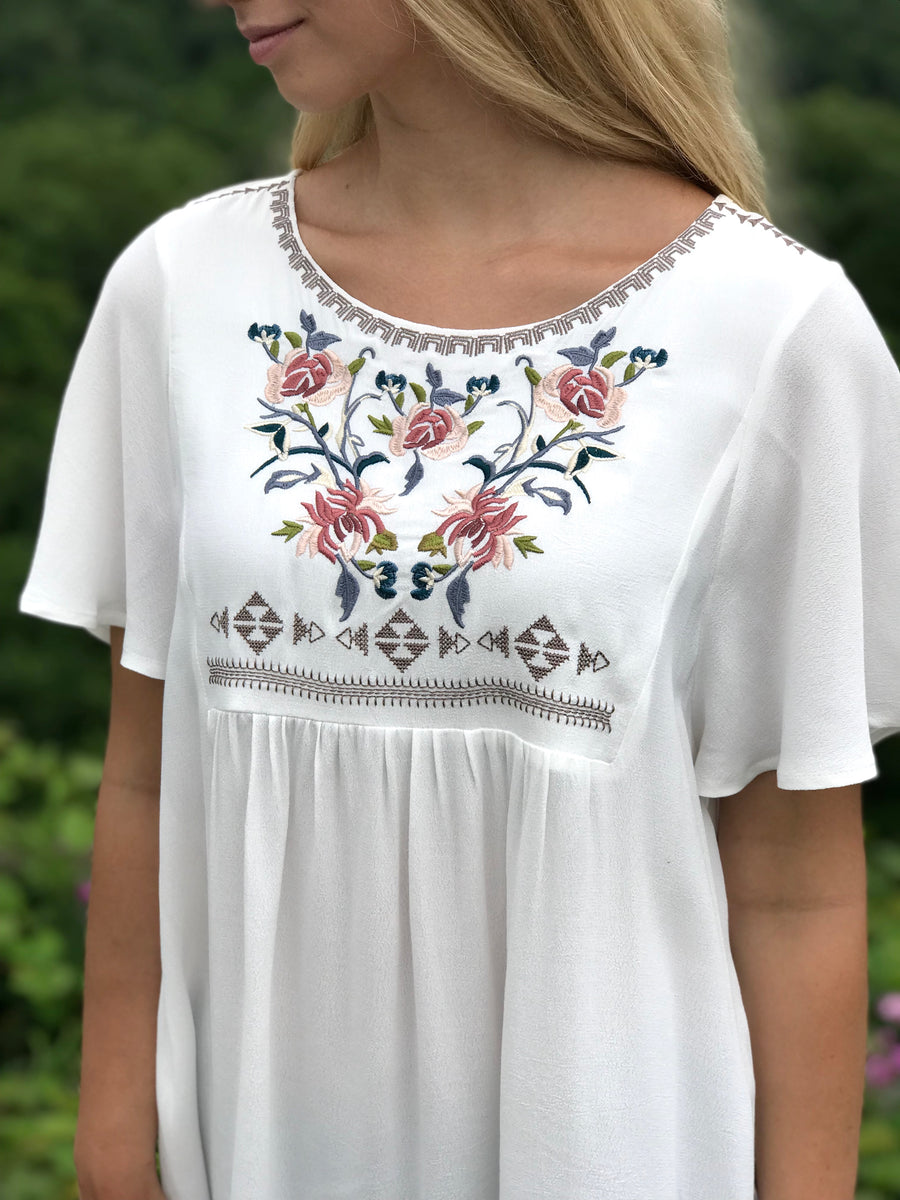 Michelle:  Embroidered Short Sleeve Top by Mystree (Premier Brand)