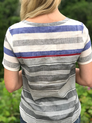 Kacey: Striped Short Sleeve Top by THML (Premier Brand)