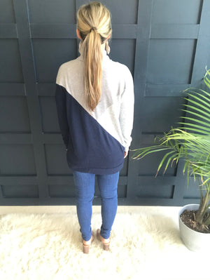 Mel: Color Block Navy and Grey Brushed Sweater Top by Staccato