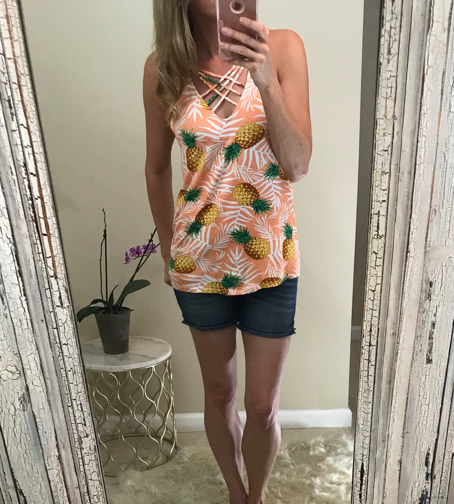 Sally:  Pineapple Front Cross Top by White Birch