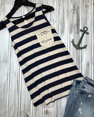 Mary: Striped Crochet Pocket Tank by Vanilla Bay