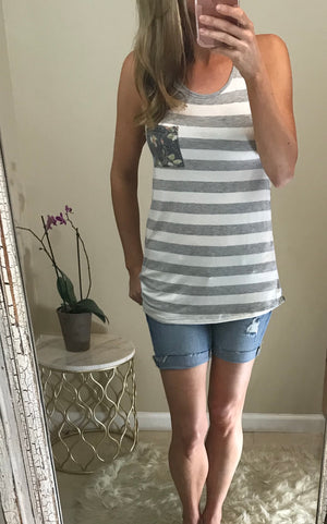 Becky:  Striped and Floral Contrast Tank by WannaB