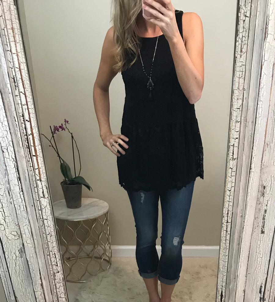 Reese:  Black Lace Sleeveless Tank by White Birch