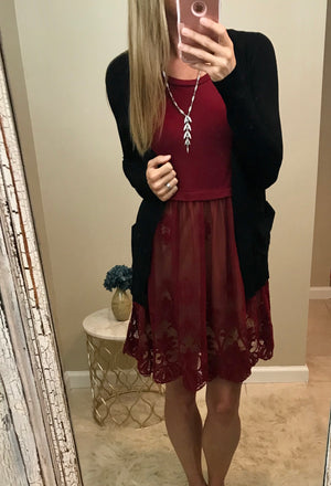 Holly:  Red Bottom Lace Sleeveless Dress by Entro