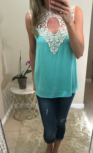Sharron: Mint Crochet Neck Sleeveless Top