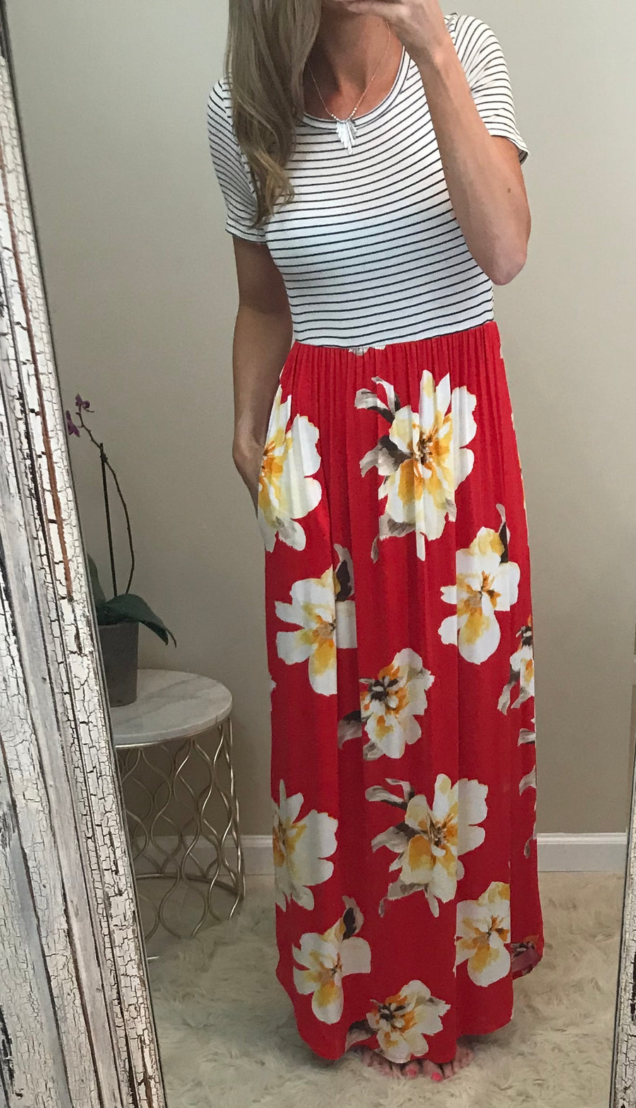 Robyn:  Striped Floral Contrast Maxi by White Birch
