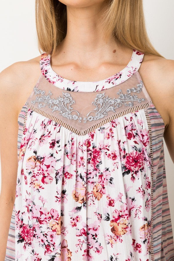 Melonie: Embroidered Floral Stripe Contrast Tank by Mystree (Premier Brand)