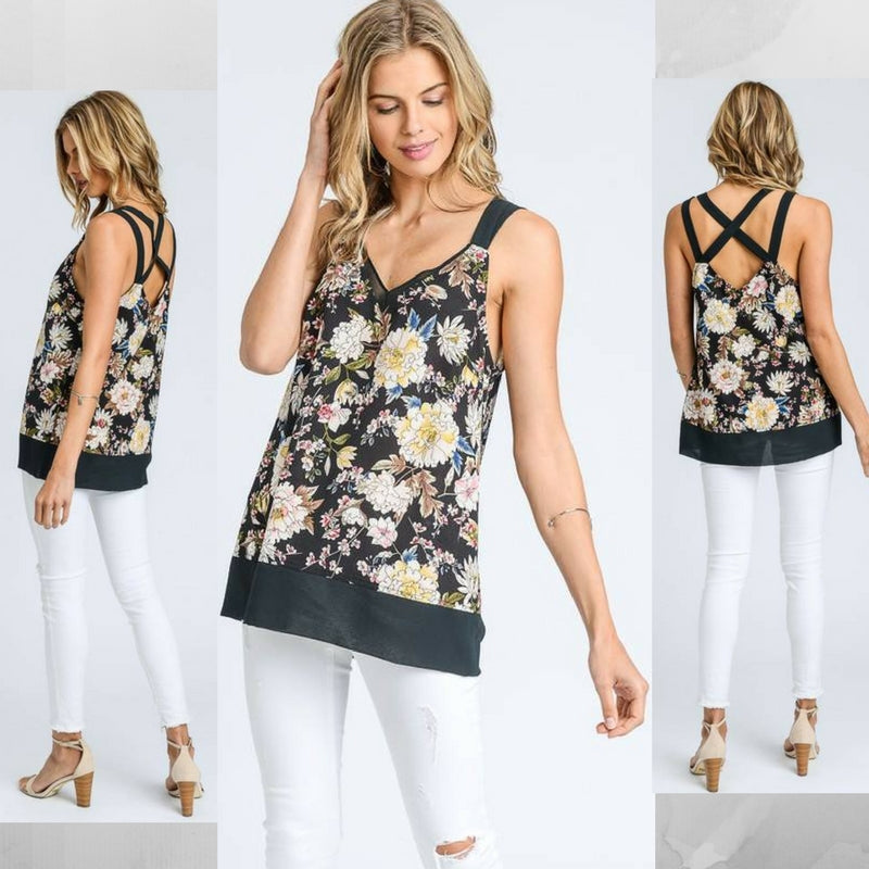 Samantha:  Cross Back Printed Top by Doe and Rae