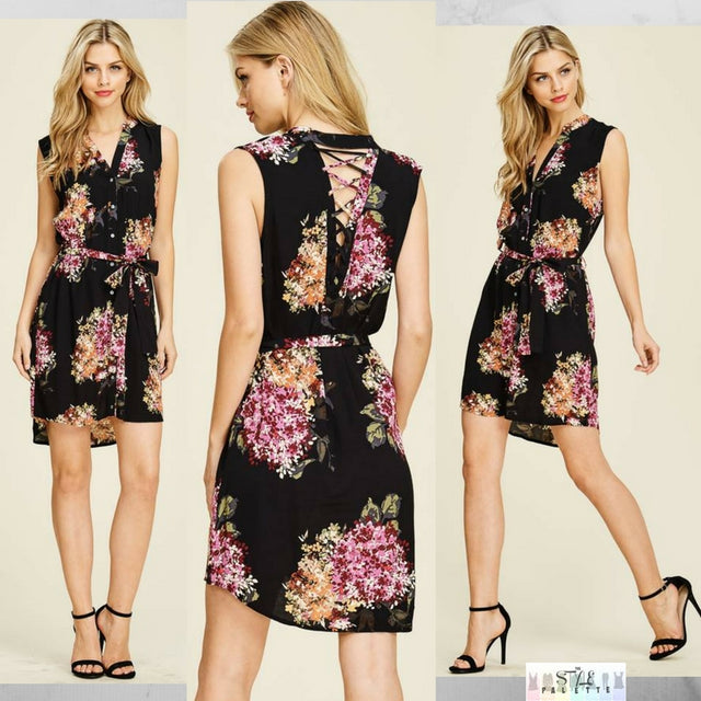 Cindi: Detailed Back Floral Dress by Staccato