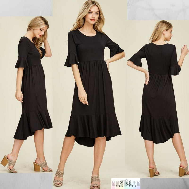 Mya:  Black Detailed Sleeve Dress by Reborn J