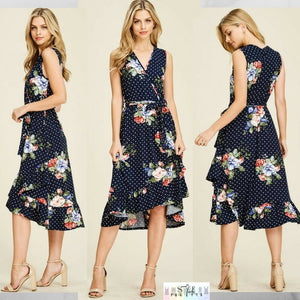 Sandra:  Polka Dot Floral Dress by Reborn J