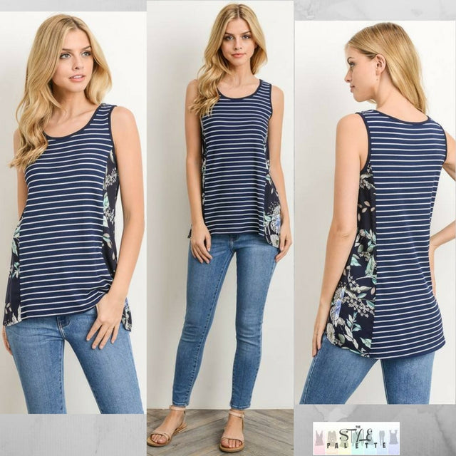 Finleigh:   Striped and Side Accent Sleeveless Top by Gilli