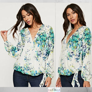 Vicki:  Floral Crossover Tie Top by Love Stitch (Premier Brand)