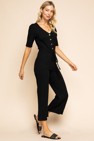 Alicia: Short Sleeve Black Button Jumpsuit by Gilli
