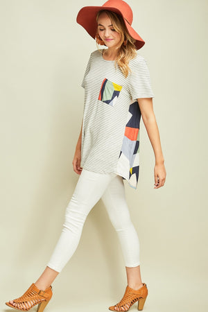 Joy:  Party in the Back Geometric Contrast Top by Entro